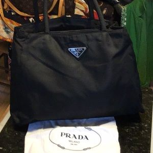 Prada Logo Nylon Satchel W 3 Compartments & Pocket